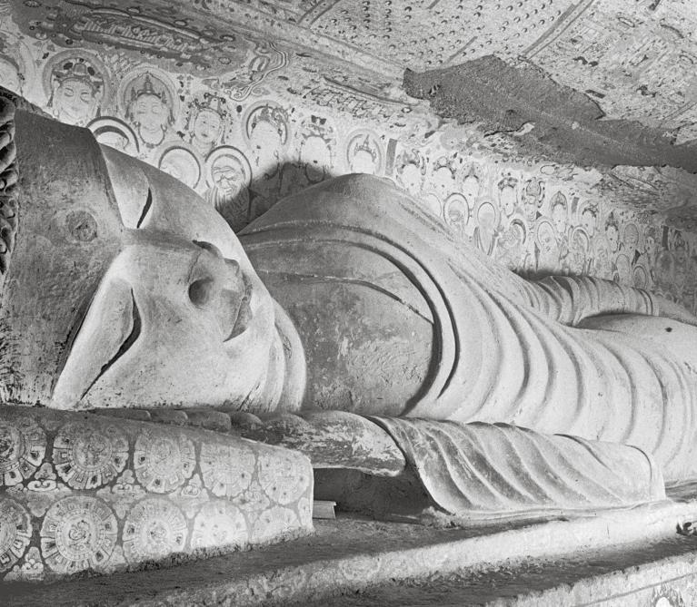 Mogao Cave 158. Reclining Buddha, Parinirvāṇa scene. West wall.
